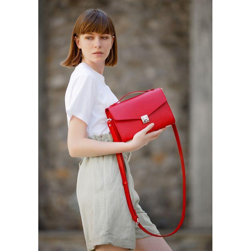 Женская кожаная сумка-кроссбоди Lola красная