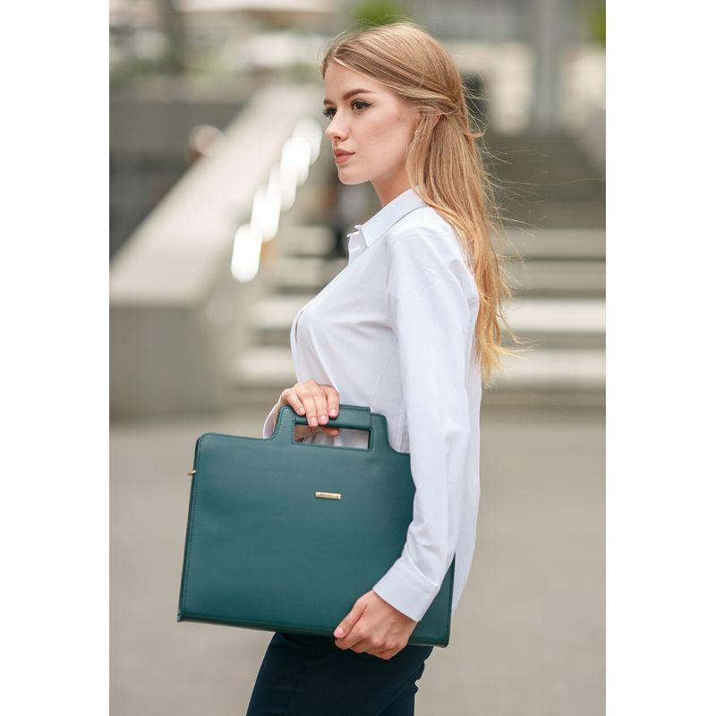 Женская кожаная сумка для ноутбука и документов зеленая