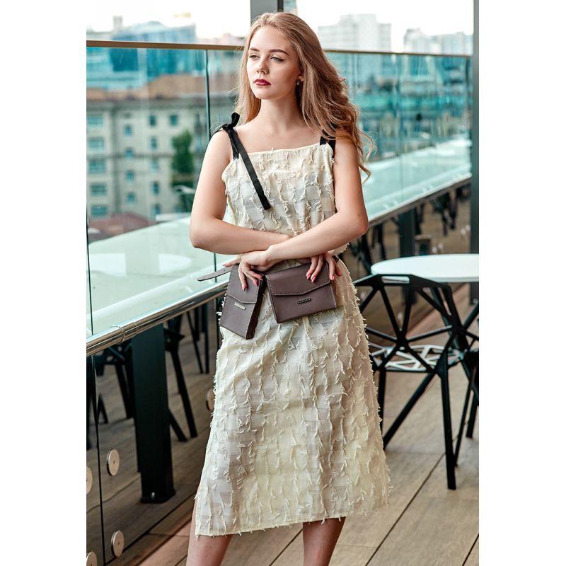 Набор женских кожаных сумок Mini поясная/кроссбоди темно-бежевый
