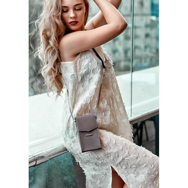 Вертикальная женская кожаная сумка Mini темно-бежевая поясная/кроссбоди