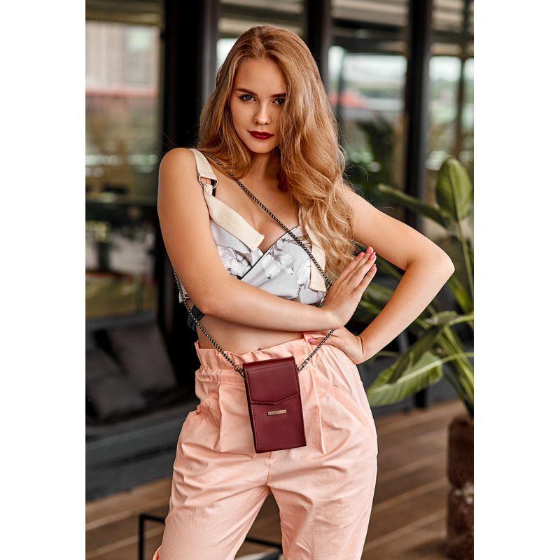 Вертикальная женская кожаная сумка Mini поясная/кроссбоди бордовая