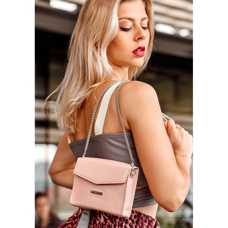 Женская кожаная сумка поясная/кроссбоди Mini розовая