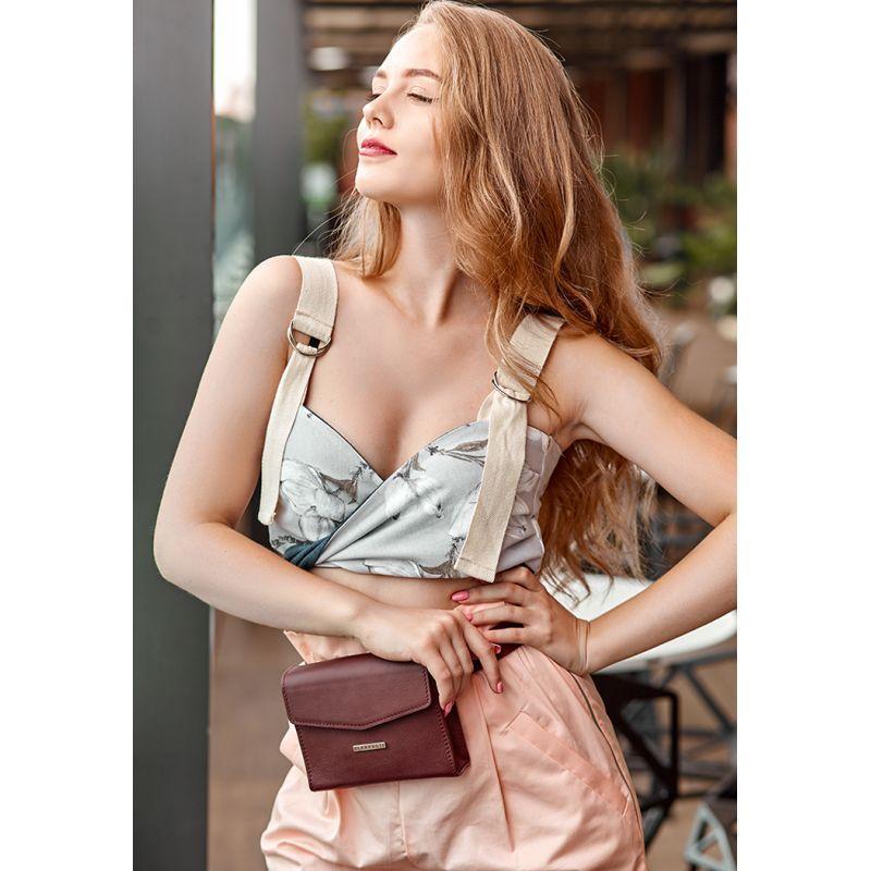 Женская кожаная сумка поясная/кроссбоди Mini бордовая