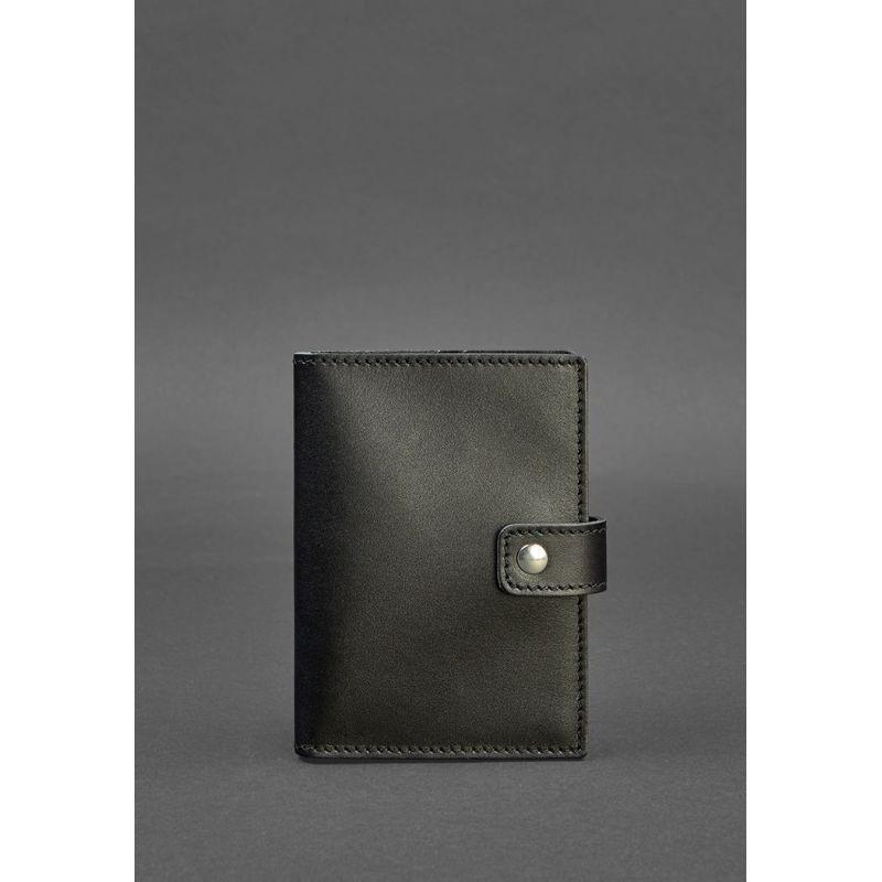 Кожаная обложка для паспорта 5.0 (с окошком) черная