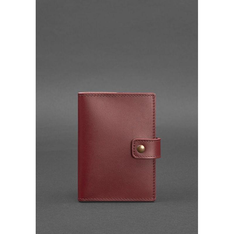 Кожаная обложка для паспорта 5.0 (с окошком) бордовая Краст