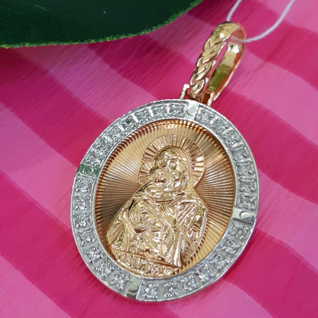 Серебряный кулон с позолотой Богородица - Серебряная ладанка Богородица