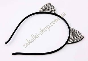 Обруч ушки кошечки с камнями чешское стекло модель №3, 1 штука