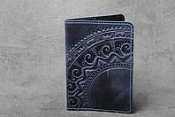 """Обложка синяя для паспорта, обложка из натуральной кожи с тиснением """"Этно"""", фото 1"""