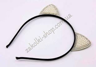 Обруч ушки кошечки с жемчужинками и камнями чешское стекло модель №5, 1 штука
