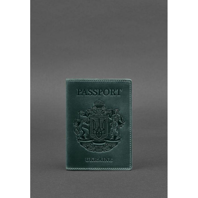 Кожаная обложка для паспорта с украинским гербом зеленая