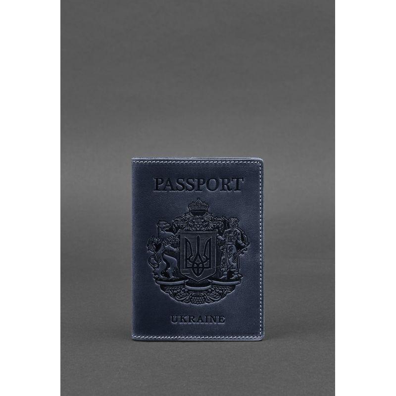 Кожаная обложка для паспорта с украинским гербом синяя
