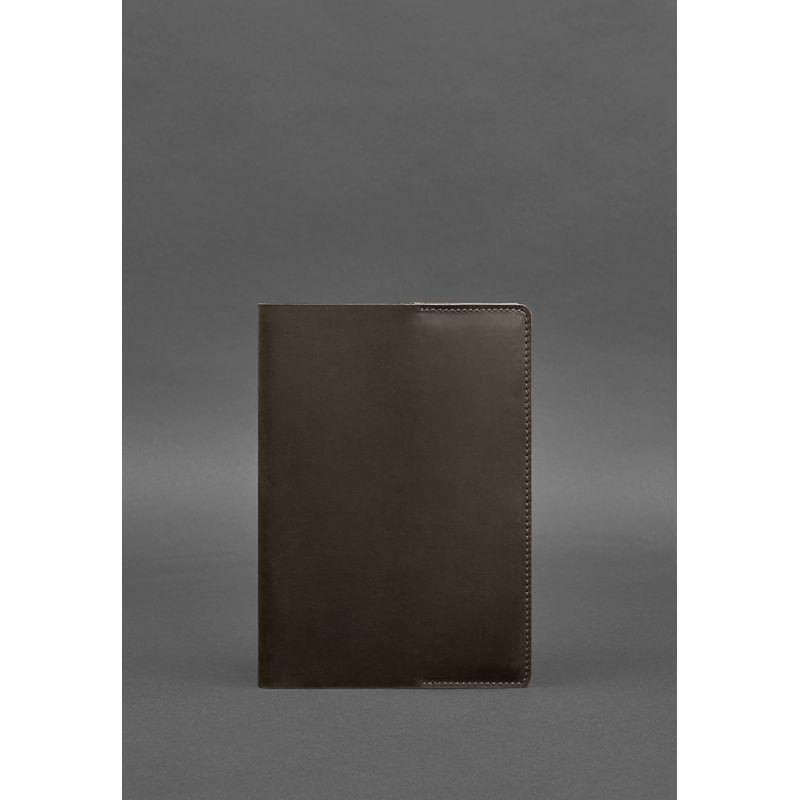 Кожаная обложка для блокнота 6.0 (софт-бук) темно-коричневая