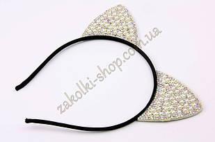 Обруч ушки кошечки с жемчужинками и камнями чешское стекло модель №6, 1 штука