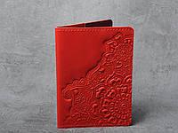 """Обложка для паспорта, обложка из натуральной кожи с тиснением """"Цветы"""", фото 1"""