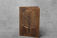 """Обложка для паспорта, обложка из натуральной кожи с тиснением """"Дерево"""", фото 1"""