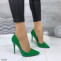 Женские лаковые туфли лодочки зелёные на каблуках  =Los_k= Венгрия