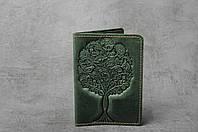 """Зелёная обложка для паспорта, обложка из натуральной кожи с тиснением """"Дерево"""", фото 1"""