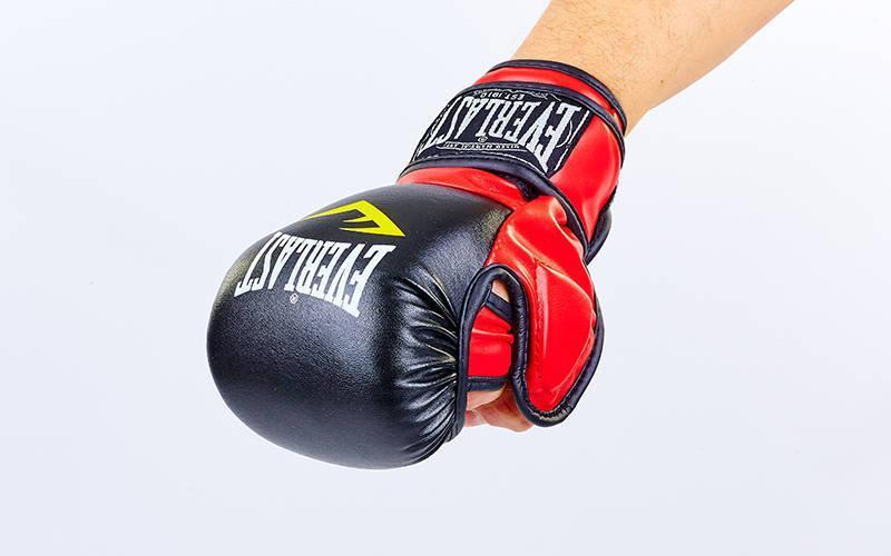 Перчатки гибридные для единоборств ММА PU ELAST  (р-р S-XL, черный-красный)