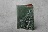 """Обложка для паспорта, обложка из натуральной кожи с тиснением """"Цветы"""", зеленая, фото 1"""