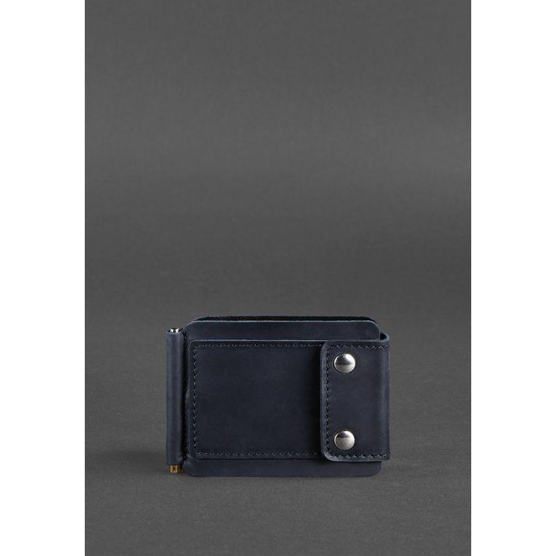 Мужское кожаное портмоне синее 10.0 зажим для денег Crazy Horse