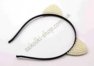 Обруч вушка кішечки з камінням чеське скло модель №9, 1 штука