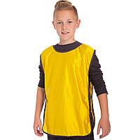 Манишка-накидка футбольная подростковая на резинке,  PL, р-р M-62х42+13см., желтый (CO-4001-(yl))