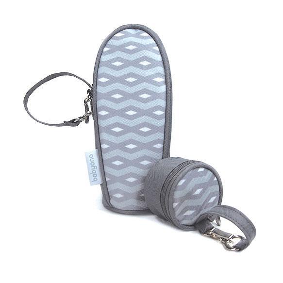 Термоупаковка для бутылочки + футляр для пустышки светло-серый