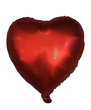 Куля фольгований серце червоне сатин, 43 х 48 см 1675
