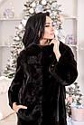 Шуба Норковая Черная 100 см Канадская Шанель 0524ЕИШ, фото 5