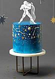 Топпер Водолей, Водолей на торт, Топперы знаки зодиака, Топер Водолей блестках разных цветов, фото 2