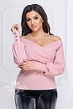 """Женская нарядная кофта на запах с глубоким декольте, длинные рукава с пуговицами """"Джемма"""", фото 3"""