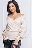 """Женская нарядная кофта на запах с глубоким декольте, длинные рукава с пуговицами """"Джемма"""", фото 5"""