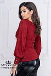 """Женская нарядная кофта на запах с глубоким декольте, длинные рукава с пуговицами """"Джемма"""", фото 8"""