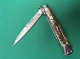 Нож Итальянский автоматический стилет Frank Beltrame Swinguard 28см рог оленя Bayonet, фото 3