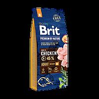 Brit Premium Dog Adult M 15 кг - Полноценный корм с курицей для взрослых собак средних пород