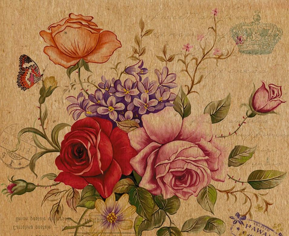 Подарунковий паперовий пакет КВАДРАТ 24*24*10 см Квіти