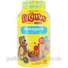 Омега-3 для дітей, L il Critters Omega-3 120 жувальних цукерок