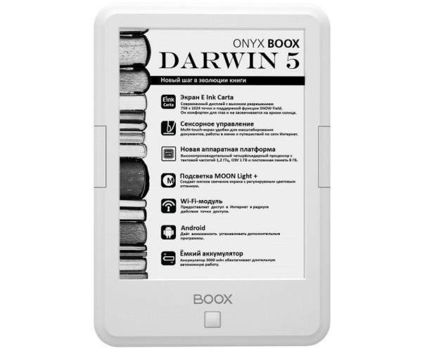 Электронная книга с подсветкой ONYX BOOX Darwin 5 White (410814)