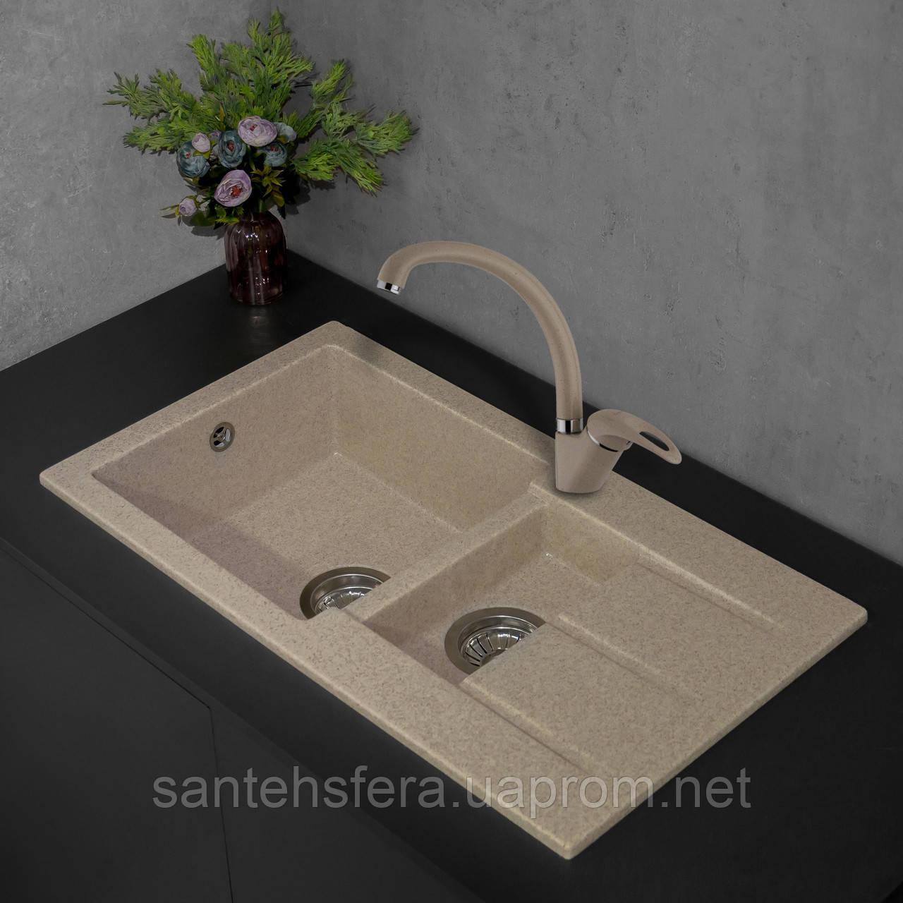 Прямоугольная гранитная кухонная мойка Fancy Marble Alabama, 206080004, цвет светло-черный