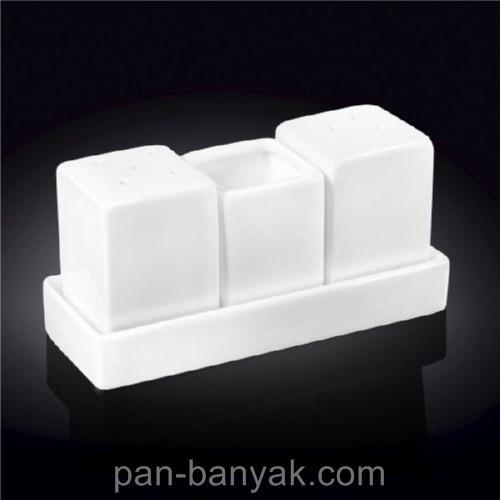 Набор для специй Wilmax  (соль/перец/зубочистка) 3 предмета фарфор (996118 WL)