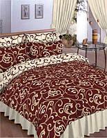 Комплект постельного белья Вилюта 5400 евро Светло-коричневый с молочным (hub_pndt33603)