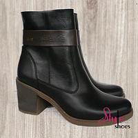 Женские ботинки демисезонные из коричневой кожи на каблуке