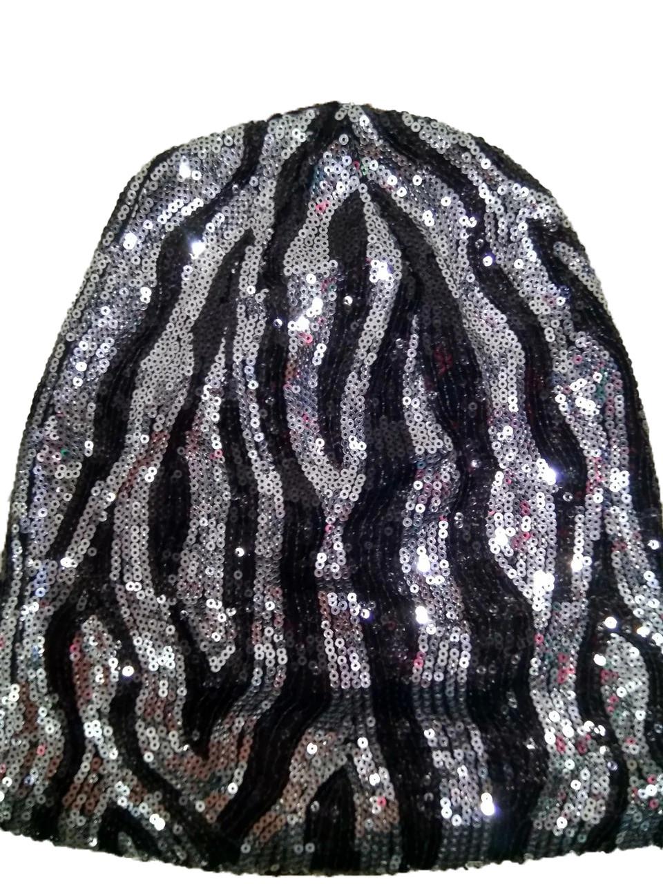 Тонкая шапка Пайетки  8276 серебро
