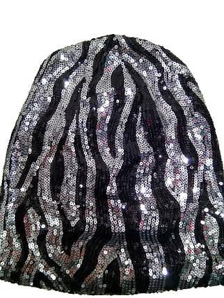 Тонкая шапка Пайетки  8276 серебро, фото 2