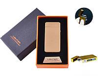 Электроимпульсная зажигалка в подарочной коробке LIGHTER №HL-68 Gold