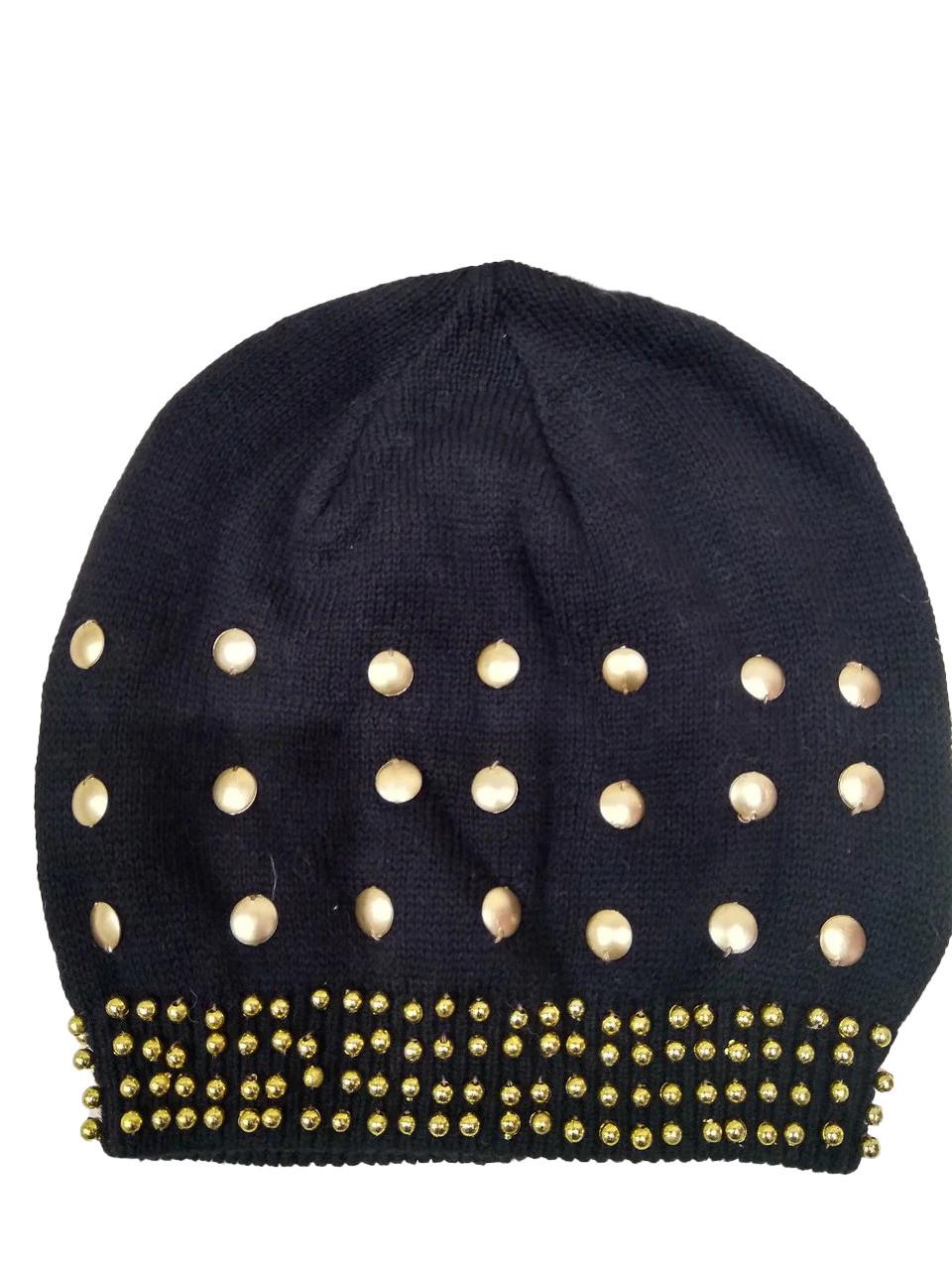 Тонкая шапка Золото 1224 черная