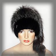 """Меховая шапка комбинированная из чернобурки и ондатры """"Гламур"""", фото 1"""