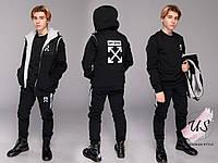 Мужской черный теплый трикотажный спортивный костюм-тройка.