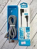 Кабель Micro USB Sertec ST-057L+L 2.4A 2m (Г-образный коннектор, круглый) Grey