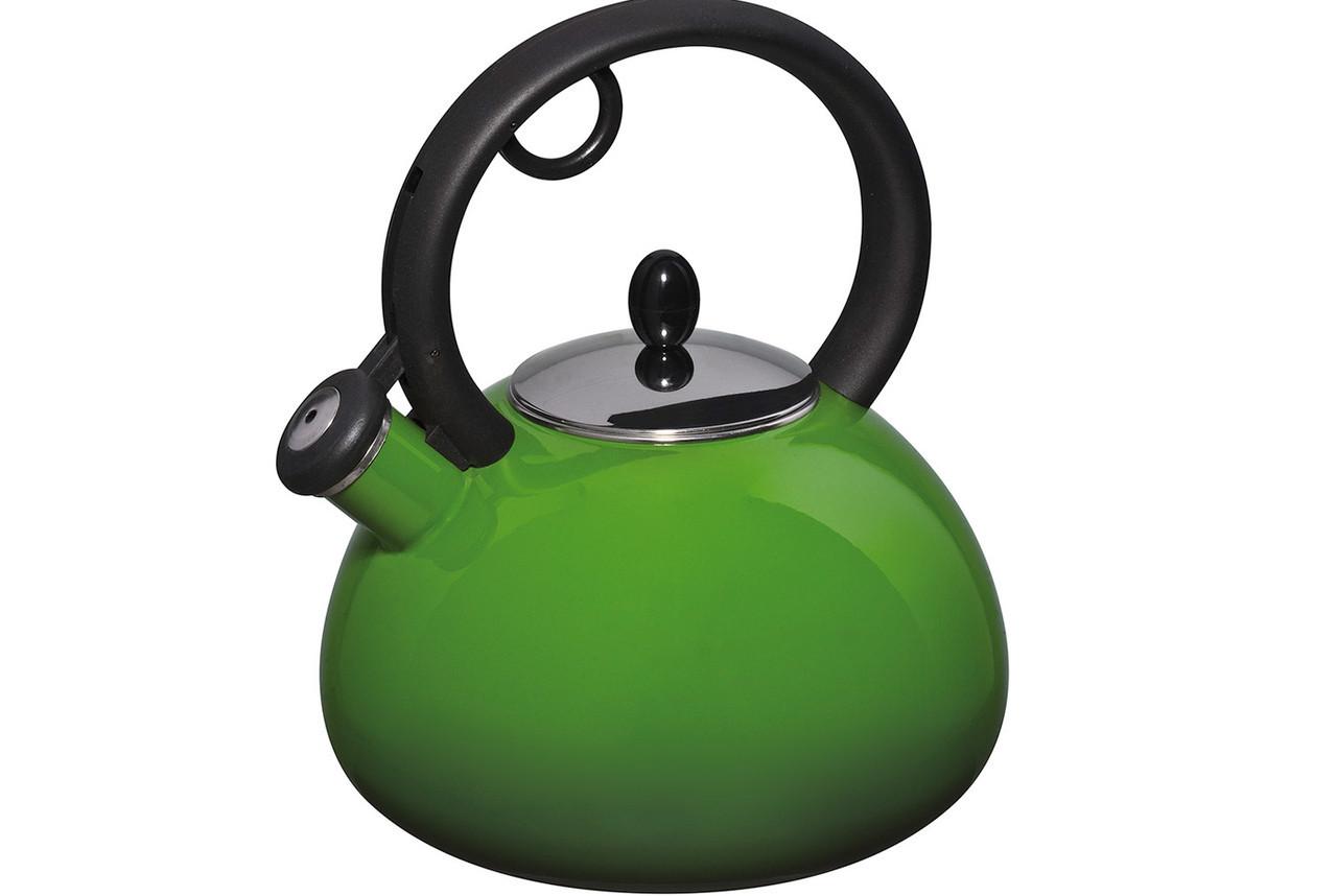 Granchio Чайник Capriccio Verde Bollittore 2,5 л емаль, Чайник з кришкою і ручкою, Чайник зі свистком з емали